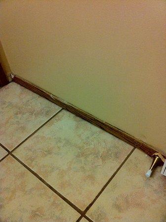 Alpine Motel Kamloops: Bathroom baseboard in need of repair