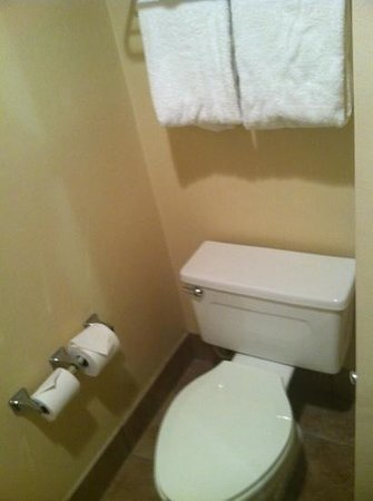 Baymont Inn & Suites Indianapolis South: Toilet is located with tub/shower.