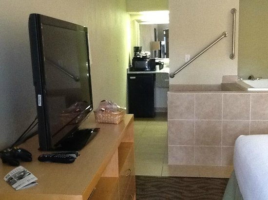 Hotel Nexus Seattle: TV, vanity area and spa in background