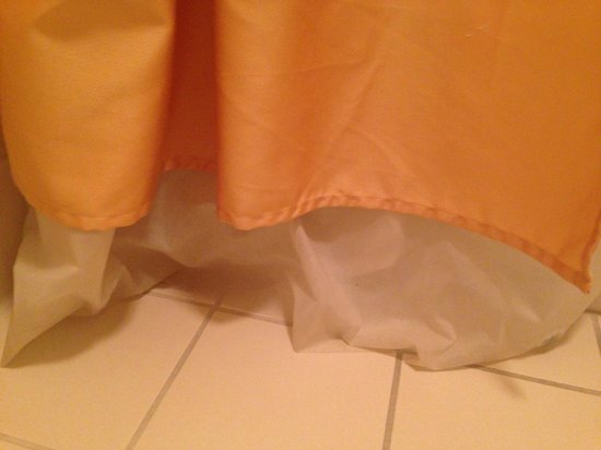SpringHill Suites Denver Airport: Shower Curtain to long and dirty
