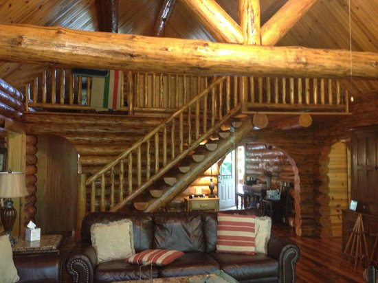 Roscoe Hillside Cabins: Looking up at the loft from the living room