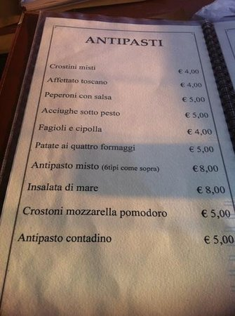 Il Frantoio : menu 2013