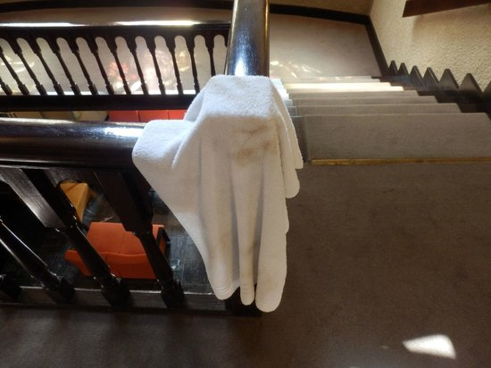 Floreal La Roche: Vieze handdoek die bij de schone handdoeken hing...