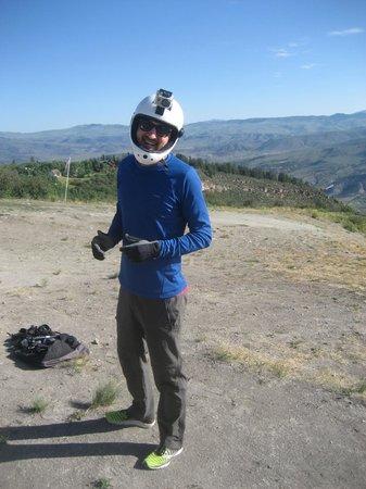 Vail Valley Paragliding Tandem Adventures: Styling Helmet!