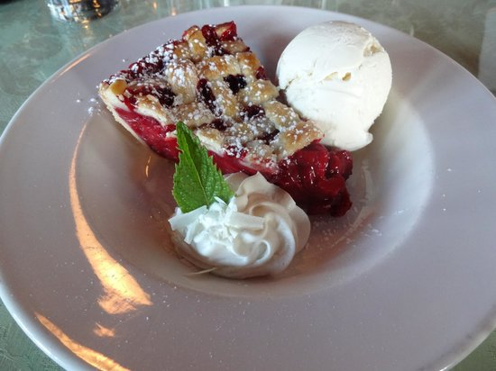 The Place Restaurant & Bar: Rhubarb and berry pie with vanilla ice cream!  Yum!!!