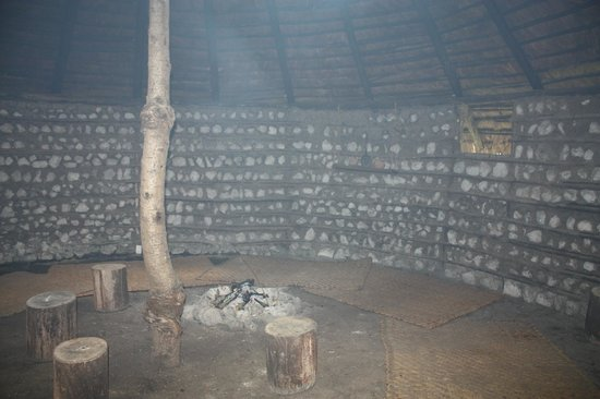 Casa Mojanda: a fire in the roundhouse, which is available for meditation
