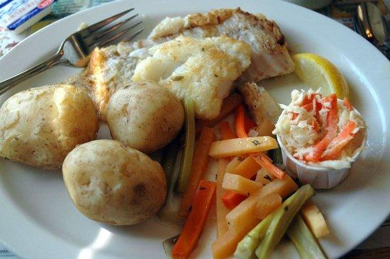 "Blue Fin Restaurant : Fresh pan-fried hake with ""new potatoes"".  Soooo good!"