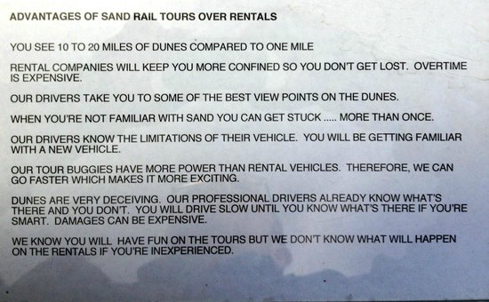 Florença, OR: Sandland's reasons to go with the pro's over renting ATVs