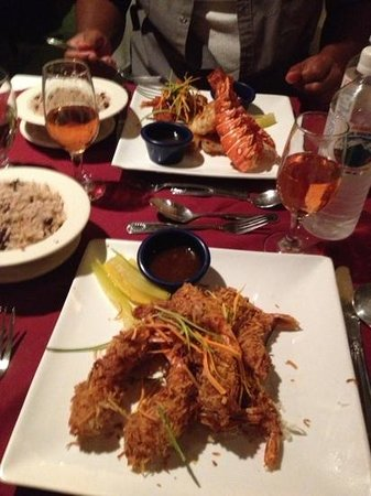 Spring Garden Seafood & Steakhouse : Coconut shrimp and seafood plate.