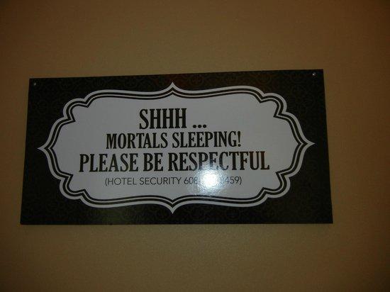 Mt. Olympus Resort: sign inside hotel hallways by rooms