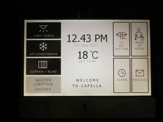Capella Singapore: Hi-tech touch panel to control lights, A/C and curtains