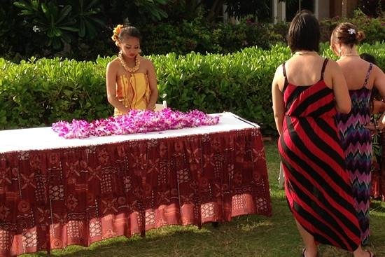 Sunset Luau at the Waikoloa Beach Marriott: lei's made from real flowers