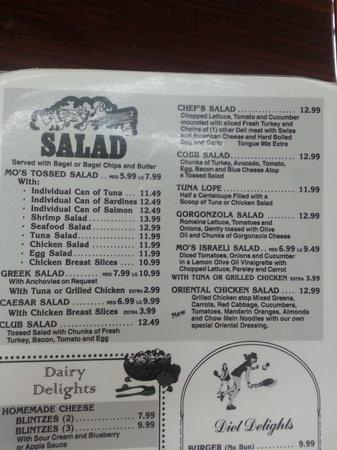 Mo's Bagels INC: menu