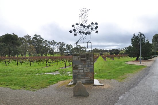 Sevenhill Cellars: Madonna Of The Vines sculpture at the entrance to the property.