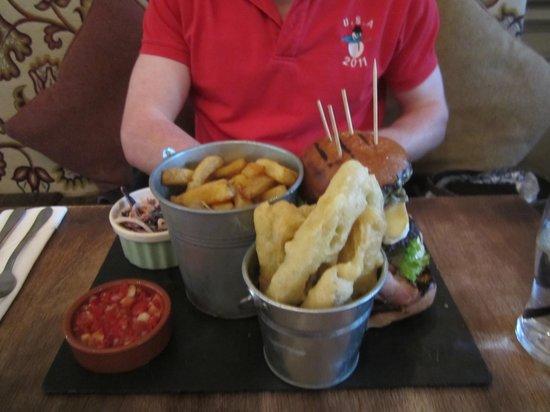 Restaurant at Brook Green Hotel: Triple cheeseburger, fries, fried pickles, salsa