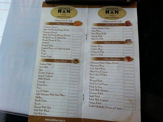Han Restaurant: Menu 1