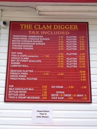 Saint Andrews, Canadá: menu from Clam Digger