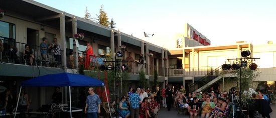 Red Lion Hotel Vancouver at the Quay: A view of the River Deck, staged for the Tiki Kon event's outdoor evening show.