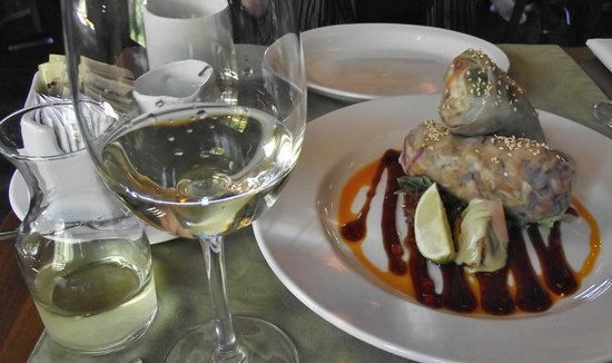 Locals Restaurant at the Old House: ... and a glass of Beaufort Vineyards Ortega