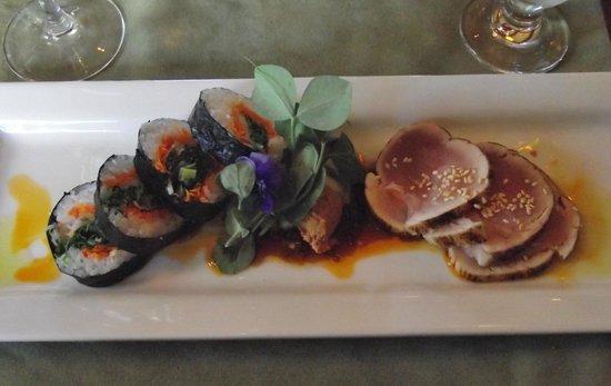 Locals Restaurant at the Old House: Albacore Tuna Loin Tataki      Estevan's tuna loin seared rare, served chilled with a rice & veg