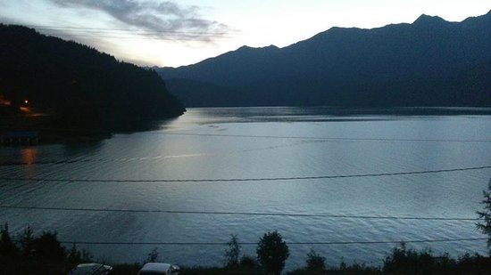 Kaslo Hotel: View from the Lakeside 2 bedroom condo at sunrise.