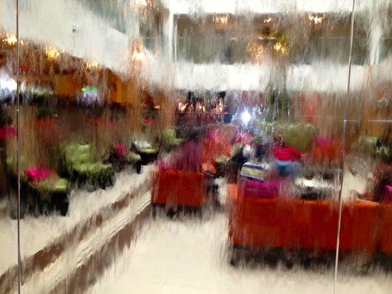 "Holiday Inn Sarasota - Airport : inside elevator on atrium level through ""waterfall"""