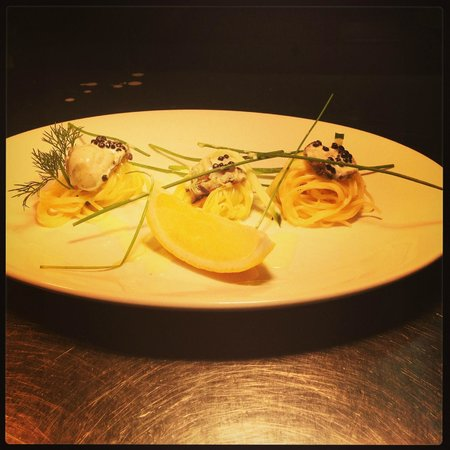Castello Restaurant: royal oysters with caviar, saffron noodles and butter sauce
