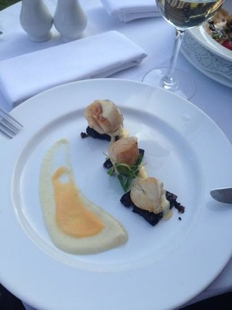 Scholars Townhouse Hotel: scallops on black pudding with celeriac purée, yum!