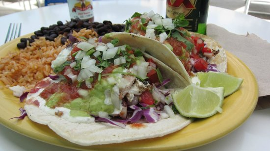 Blue Water Taco Grill : Salmon Taco Platter - Yum!
