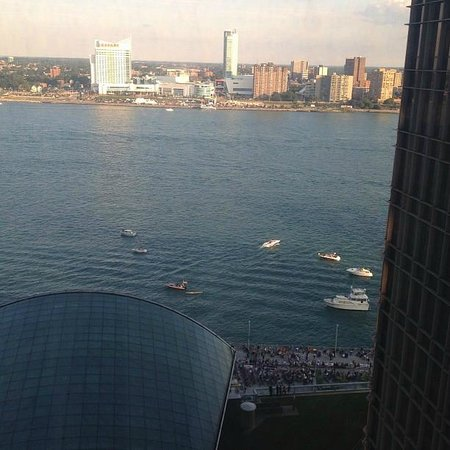 Detroit Marriott at the Renaissance Center: View from room. King suite with river view.
