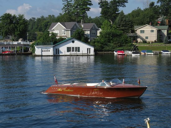 """Boathouse Bed and Breakfast A Lake Castle Estate on Lake George: Joe (owner) driving """"Miss Boathouse"""""""