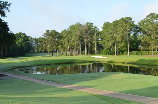 Ocala National Golf Club : Fifth Hole, Par 3, 126 yds from the white. Watch the water now.