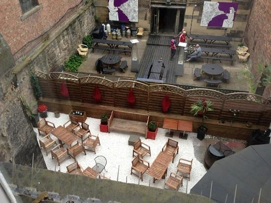 Twelve Picardy Place: outside sitting area with neighbouring pubs beer garden