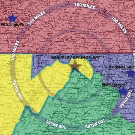 Panorama at the Peak: Berkeley Springs 100 mile radius map