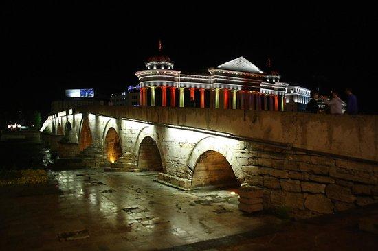 The Stone Bridge : De brug van links, met verlicht gebouw op de achtergrond.
