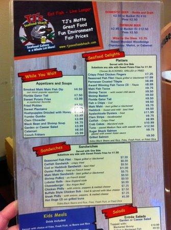 TJ's Seafood Shack: menu