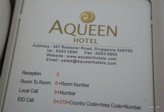 Aqueen Hotel Balestier: telephone