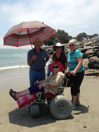 BEST WESTERN PLUS Dana Point Inn-by-the-Sea: enjoying the beach w/ the beach wheelchair
