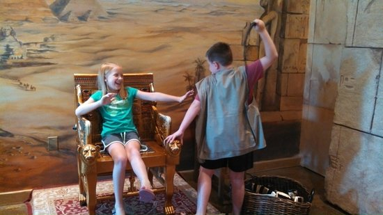 "Tomb Egyptian Adventure : Kids playing with the ""dress up"" stuff.  Sibling love..."