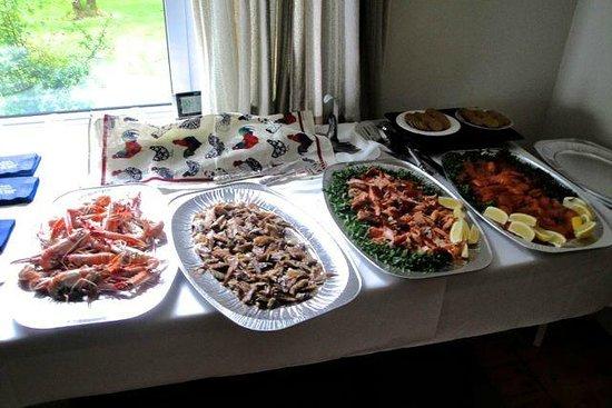 Darven Cottage B&B Sannox, Isle of Arran: Langoustines, smoked mackerel, and smoked salmon starters for the wedding feast