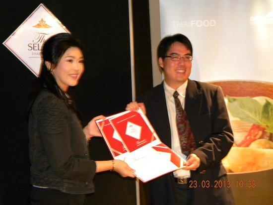 Suk Jai Thai Restaurant: Received Award from Thai Prime Minister
