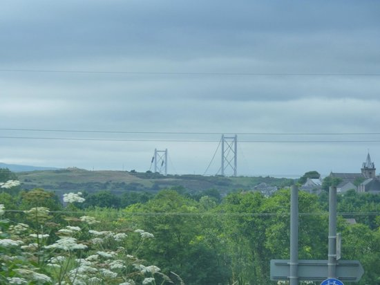 Pittencrieff Park: one of the views of the forth bridge from the park