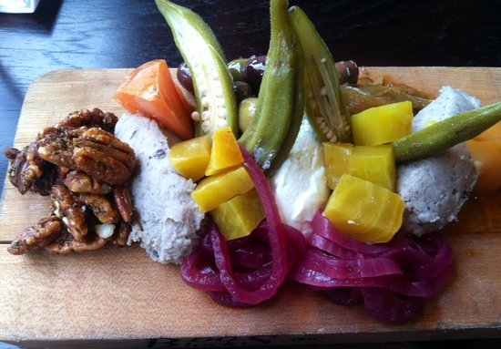The Blackbird: Pickled okra and black eyed pea humus and candied pecans- tasting board.