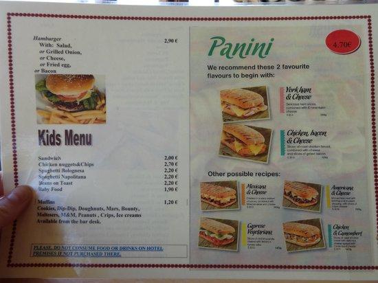 Hotel Son Baulo: Snack Menu