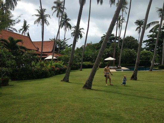 Ban Sairee Villa: Garden with pool