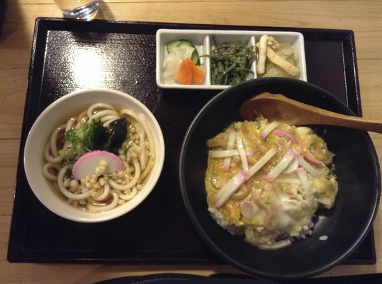 """Suttoko: """"Udon"""" (noodles) and """"domburi"""" (rice topped with egg, fish sausage, and fried tofu"""