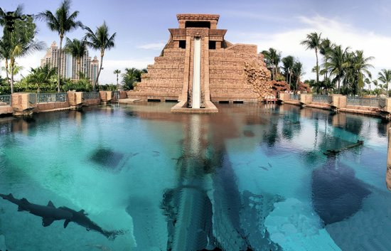 Aquaventure Water Park At Atlantis Paradise Island: Mayan Temple Water  Slide And Shark Tank