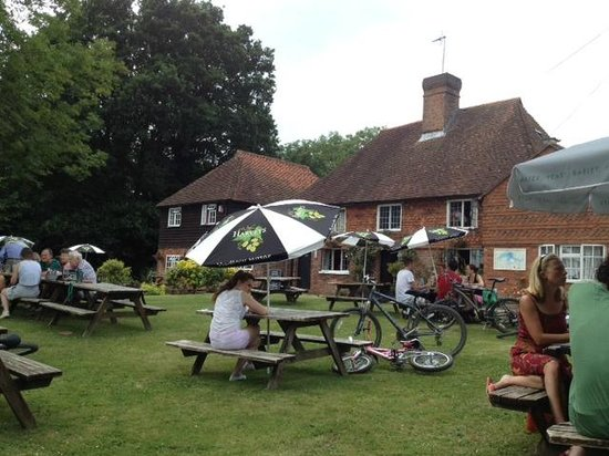 The front garden of The Bull Inn on a Sunday Afternoon.