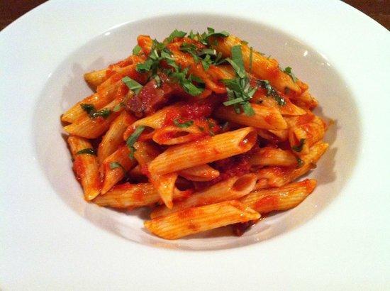 just eat : Chorizo, tomato & basil penne pasta