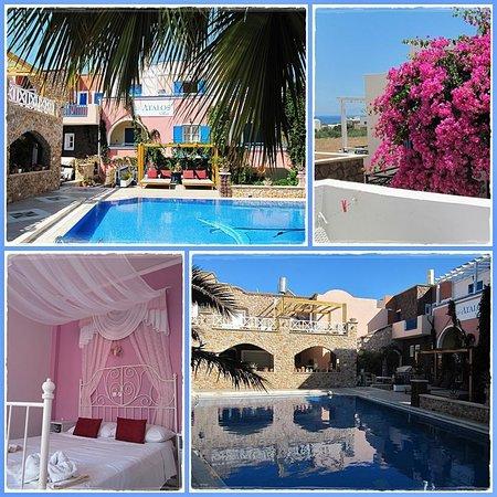 Atalos Apartments & Suites: Onze slaapkamer en de mooie tuin met zwembad van Atalos Villas